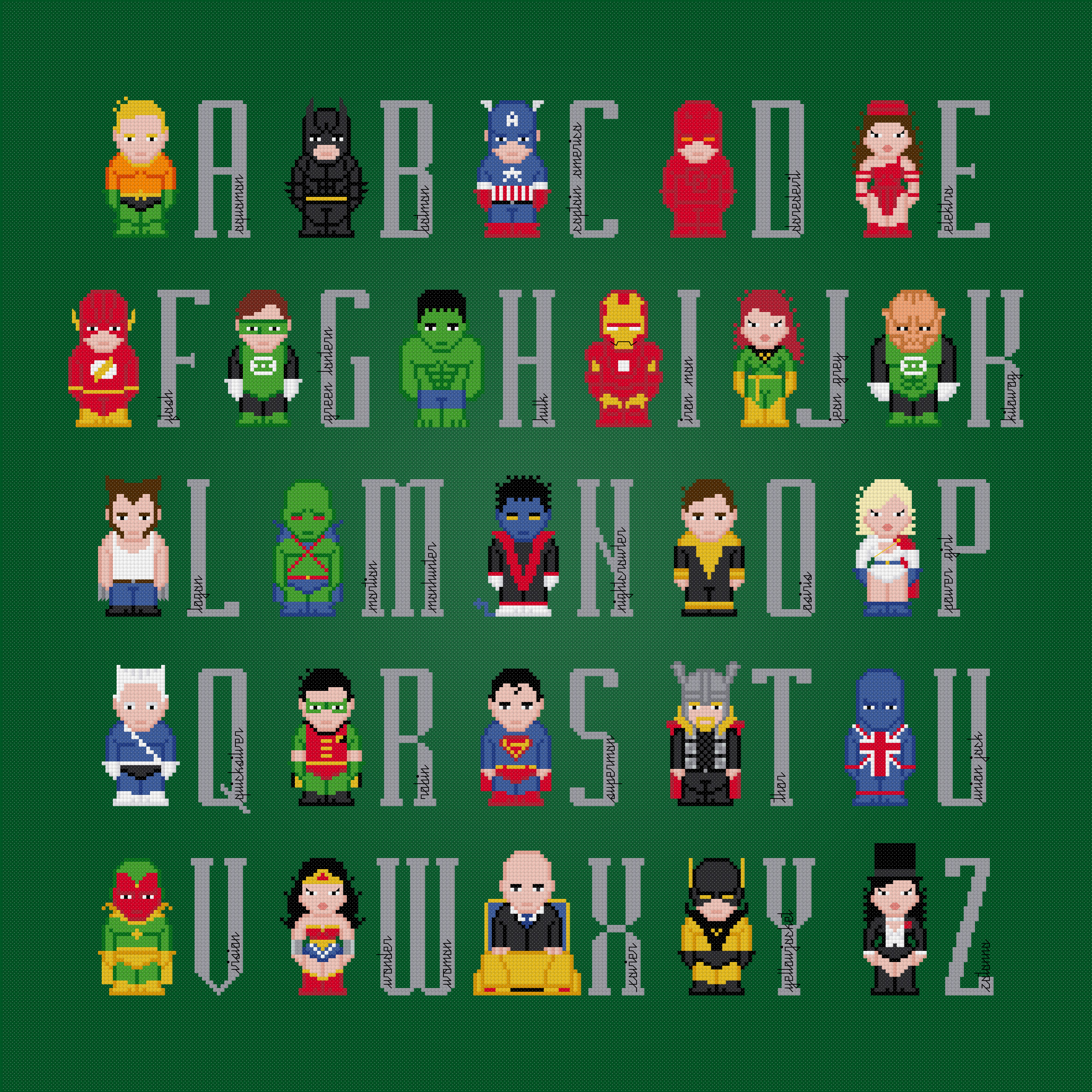 Superhero Alphabet 3 Cross Stitch Pattern