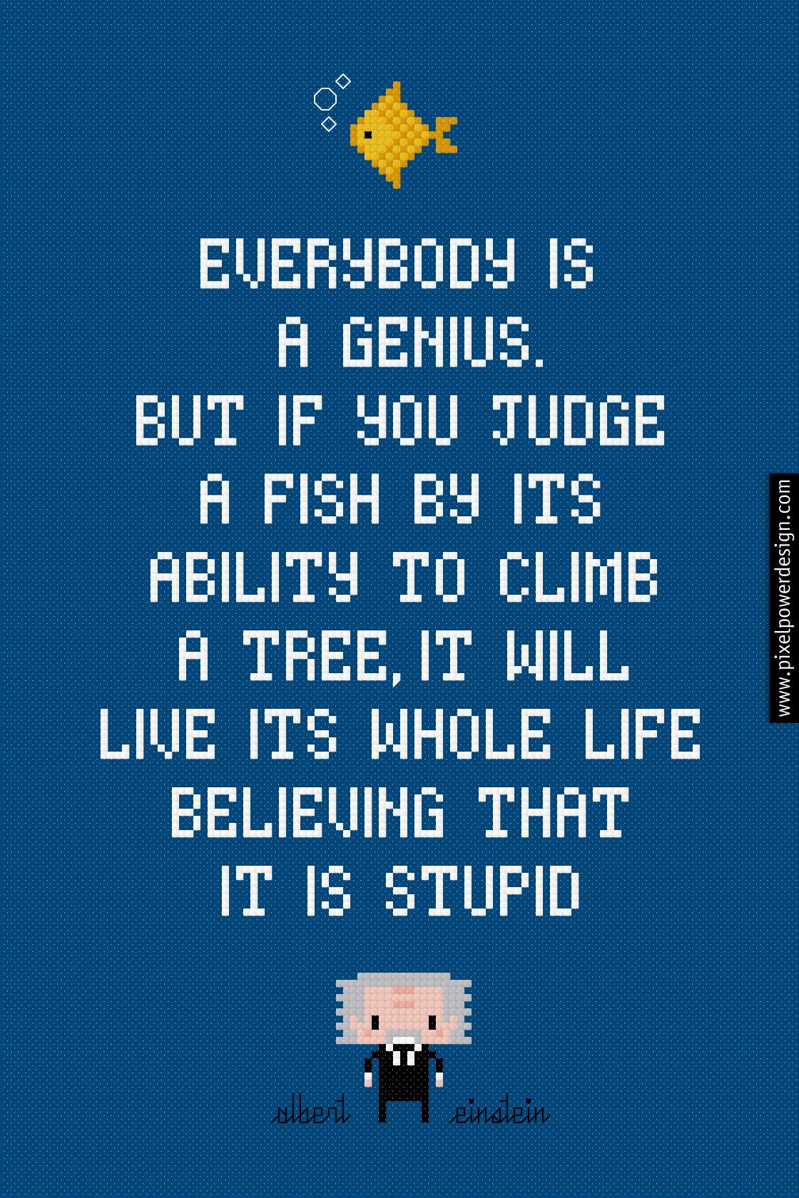 Fish Albert Einstein Quote Cross Stitch Pattern